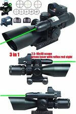2.5-10X40 Tactical Rifle Scope with Green Laser & Mini Reflex 3MOA Red Dot Sight