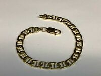 "18k Solid Yellow Gold Handmade Fashion Mariner Link Bracelet 7""  7 MM 14 grams"