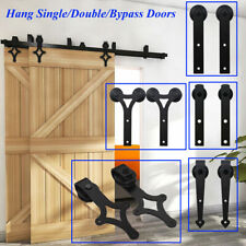 4-20FT Sliding Barn Door Hardware Closet Track Kit Single/Double/Bypass 2 Doors