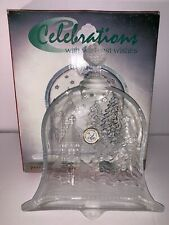 Celebrations Bell Of Christmas Frosted Crystal Plate #312689 w/Original Box