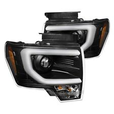 Frost LED Tube DRL Projector Headlights Set Black Ford F150 Raptor SVT 2009-2014