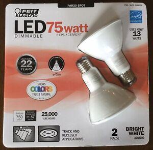 Feit Electric 75 Watt LED PAR30 Spot Light, Dimmable 3000K - 2 pack
