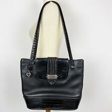 BRIGHTON Black Leather Shoulder Bag Tote w/Silver Charm