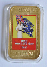 2014 Tristan da Cunha Large Gold plated Color 1 Cr WWII Propaganda-Lady/Br.flag