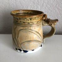 Klingman Pottery Hand Made Coffee Cup Mug Colorado Brown Unique Handle Neutral