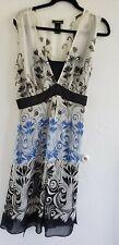 EUC WHITE BLUE AND BLACK PRINT DRESS LANE BRYANT SIZE 18