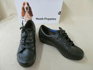 Women Hush Puppies 7.5 Narrow Black Leather Champion Oleena LaceUp Shoes HW05964