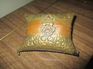 little square pillow shaped vintage brass and copper metal bag/purse #S3