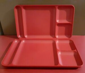 2 Dark Red Tupperware 1535-3 Divided Picnic Plate Dining Trays Lunch Camping VGC