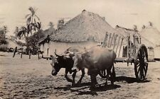 EL SALVADOR, OX CART & VILLAGE, REAL PHOTO PC, mailed from Canal Zone 1931