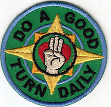 """DO A GOOD TURN DAILY"" PATCH - Iron On Embroidered Patch /Words, Sayings"