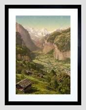 PHOTO VILLAGE LAUTERBRUNNEN VALLEY BRIETHORN WENGEN SWITZERLAND PRINT B12X7632