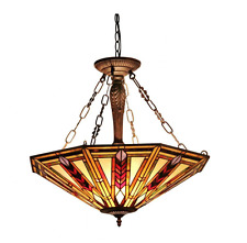 Light Fixtures For Kitchen Dining Antique Dark Bronze Tiffany Glass Style New