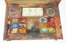 ANCIENNE BOITE D'ARTISTE PEINTRE AQUARELLISTE PEINTURE ARTIST WOODEN PAINT BOX