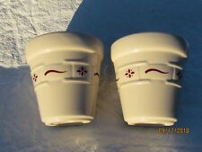 Lot of 2 Longaberger Votive Candle Holders Red Woven Traditions Pattern 3 1/4""