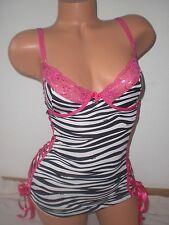 Women's AUTHENTIC Dolce & Gabbana small zebra print black pink corset bustier