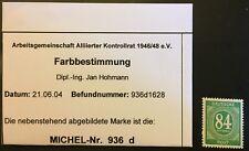 Alliierte Besetzung Postfrisch Mi. Nr. 936d  84 Pf. Ziffern mit Befund