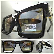 OVERSIZED VINTAGE Luxury RETRO Style SUN GLASSES Black & Gold Frame Bronze Lens
