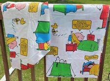 Vtg 1971 Snoopy Peanuts Happiness Is Flat & Fitted Sheet Queen Double As Is 70s