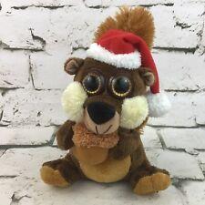 Santa Squirrel Christmas Plush Cute Big Eyes Stuffed Animal Toy Holiday