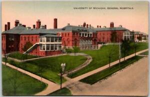 "1910s UNIVERSITY OF MICHIGAN Postcard ""General Hospitals"" Hand-Colored Unused"