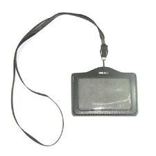 New ID Company Permit Badge Card Holder Black PU Leather + Neckstrap