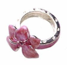 Gorgeous pink alluring enamel flower diamante chrome metal ring S/M/L(zx81T/145)