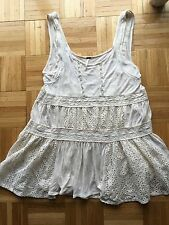 Anthropologie Free People Crochet Lace Boho Festival Tunic Top Shirt Dress M
