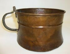 Antique Hammered Forged Dovetailed Copper Vessel with Large Handle