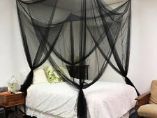 Black 4 Corner Post Bed Canopy Mosquito Net Full Queen King Size Netting Bedding