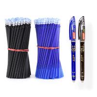 2+50Pcs/Set 0.5mm Blue Black Ink Gel Pen Erasable Refill Rod Erasable Pen
