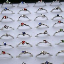 10Pcs Wholesale Lots Fashion Jewelry Crystal Cz Rhinestone Silver Plate Rings