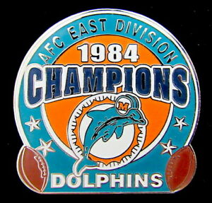 MIAMI DOLPHINS ~ 1984 AFC EAST DIVISION NFL CHAMPIONS LAPEL PIN Willabee & Ward