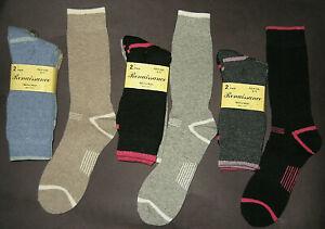 2 Pairs Womens Fully Cushioned Merino Wool Thermal Socks Shoe Size 5-10