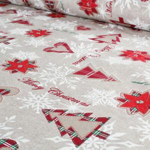 Tessuto al Metro Natale Cotone a Fantasia Natalizia Alberi Cuori Rosso h.280 cm