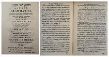 ( ebraico ) Grammatica linguae sanctae institutio Pasini Manfrè 1779 ( 3445 ) 6