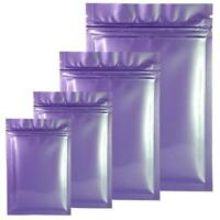 Smell Free Strong Grip Seal Bags Flat Pouch Gloss Purple, Silver Inside BPA Free