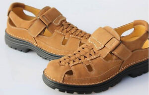 NEW MENS LEATHER WOVEN STRAP GLADIATOR FISHERMAN CLOSED TOE SPORT SANDALS