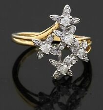 14K 2-tone gold 0.50CT diamond flower cluster cocktail ring size 7