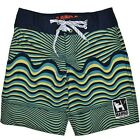 NEW MAMBO BOYS GREEN STRIPE BOARDSHORTS SHORTS BOARDIE SIZE 8,10,12,14