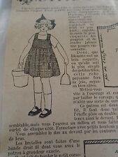 """ANCIEN PATRON POUR LA POUPEE """" BLEUETTE """" ROBE PAYSANNE  AOUT  1923"""