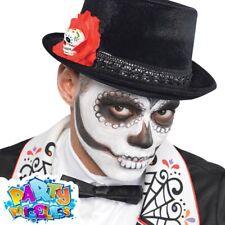 Day of The Dead Skull Rose Halloween Senor Fancy Dress Mexican Costume Top Hat