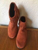 Aerosoles Stitch N Turn Limbo Siena Moccasin Suede Ankle Boots 6.5 Red Clay NWOB