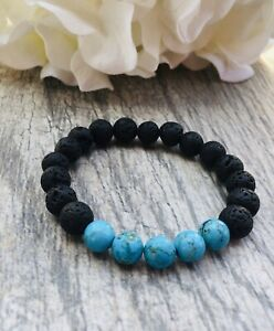 Volcanic Lava Beads and Turqouise Bracelet