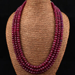 680.00 Cts Earth Mined 3 Strand Red Ruby Round Cut Beads Necklace JK 11E165