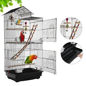 Open Top Large Metal Bird Cage for Budgie Parrot Canary Cockatiel 99cm High