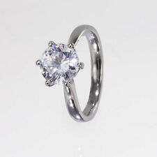 Cubic Zirconia Solitaire White Gold Fine Rings