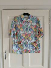 Marks & Spencer St Michael Ladies White Floral Top Size 12-14 Vintage