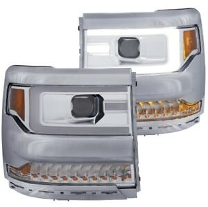 Anzo 111374 Projector Headlight Set Clear Lens For 16-18 Silverado 1500 NEW