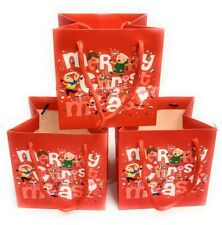 Pack of 3 Small Christmas Gift Bags Wrapping Present Party Bag Xmas Paper Bags